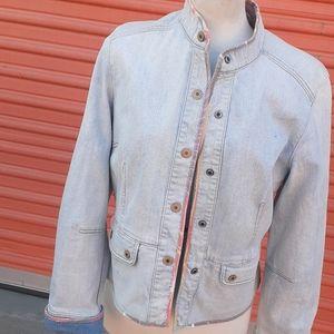 Gap Stretch Denim Blazer sz L peplum Jacket